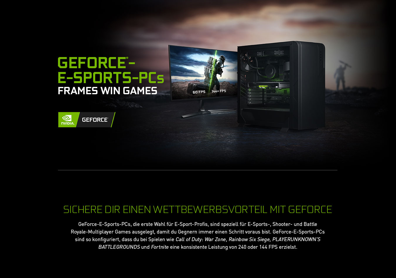 GeForce®-e-SPORTS-PCs: Frames win games - Header image