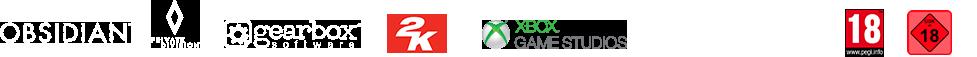 Obsidian-Logo, Private Division-Logo, gearbox Software-Logo, 2K-Logo, XBox Game Studios, The Coalition-Logo, USK 18-Logo